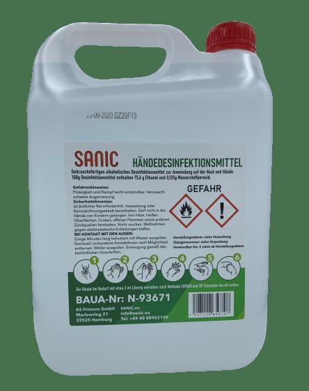 Händedesinfektionsmittel SANIC 5 Liter-min
