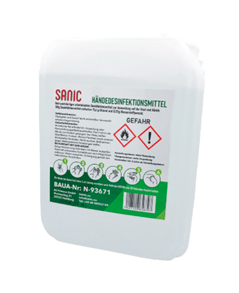 SANIC Premium Händedesinfektionsmittel 5Liter Kanister