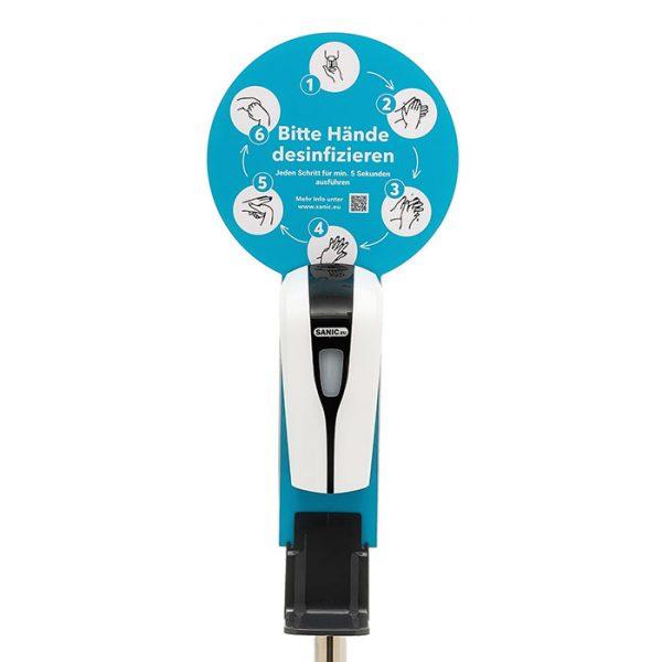 SANIC Desinfektionssäule mit Sensor Ständer aus Edelstahl & Spender1
