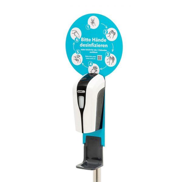 SANIC Desinfektionssäule mit Sensor Ständer aus Edelstahl & Spender3