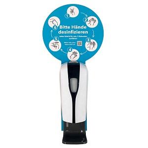 SANIC Desinfektionssäule mit Sensor Ständer aus Edelstahl & Spender mit Tropfschale - FOTO