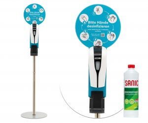 SANIC Desinfektionssäule mit Sensor - 1 Liter inkl. - FOTO