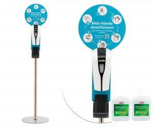 SANIC Desinfektionssäule mit Sensor - 2 kanister 10Liter - FOTO