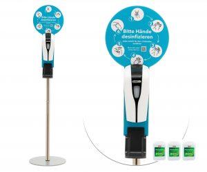 SANIC Desinfektionssäule mit Sensor - 3 kanister 15Liter - FOTO