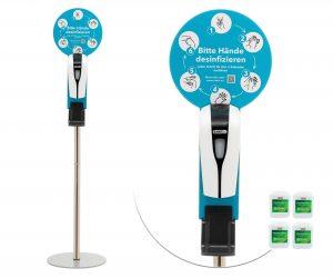 SANIC Desinfektionssäule mit Sensor - 4 Kanister 20 Liter - FOTO