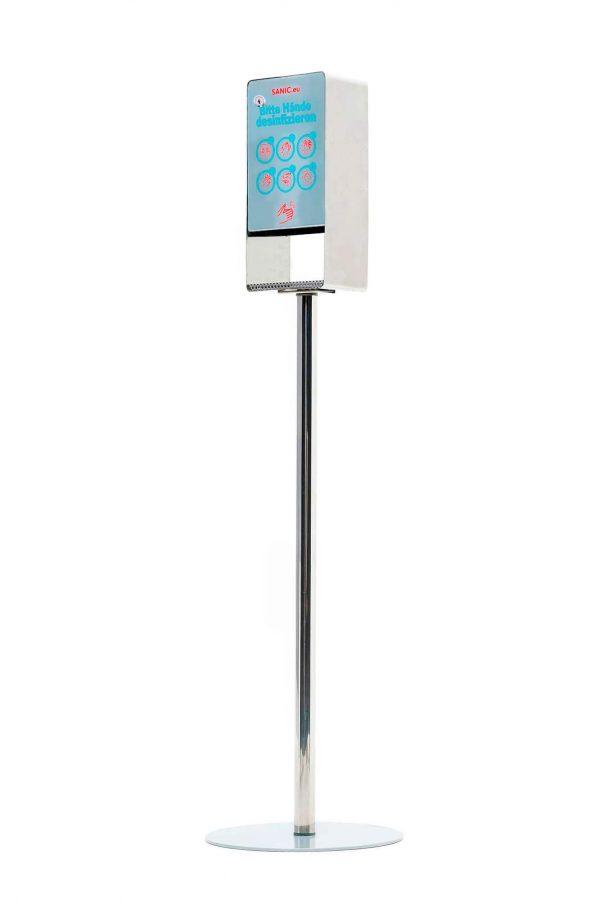 Edelstahl Desinfektionssäule mit Sensor (Glänzend)2