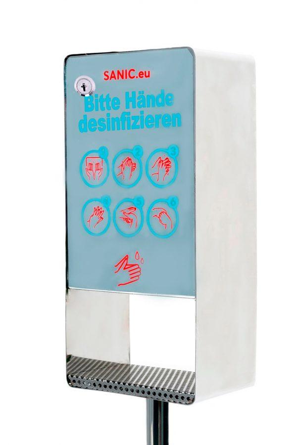 Edelstahl Desinfektionssäule mit Sensor (Glänzend)1