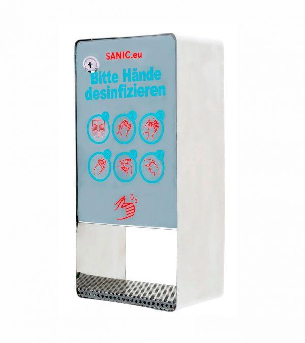 SANIC Edelstahl Desinfektionsspender mit Sensor – Glänzend