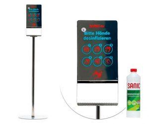 Edelstahl-Desinfektionssäule-mit-Sensor-Glänzend - FOTO