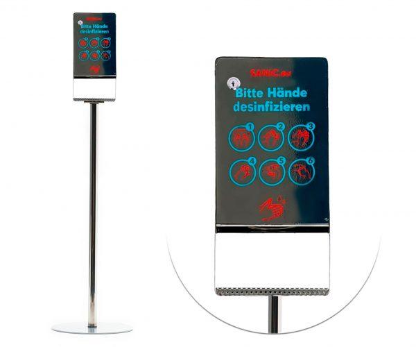 Edelstahl Desinfektionssäule mit Sensor (Glänzend)-min